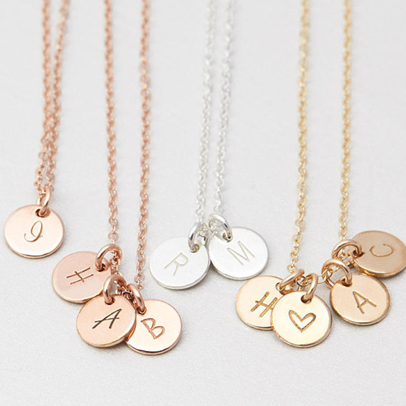 Personalized Letters Coins Necklace Handmade Custom Rose Gold Choker 7mm Pendant Collier Femme Kolye Collares Jewelry Riverdale