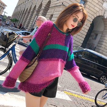 Women Lurex Striped Colorful Patchwork Slightly Tassel Pullover Sweater