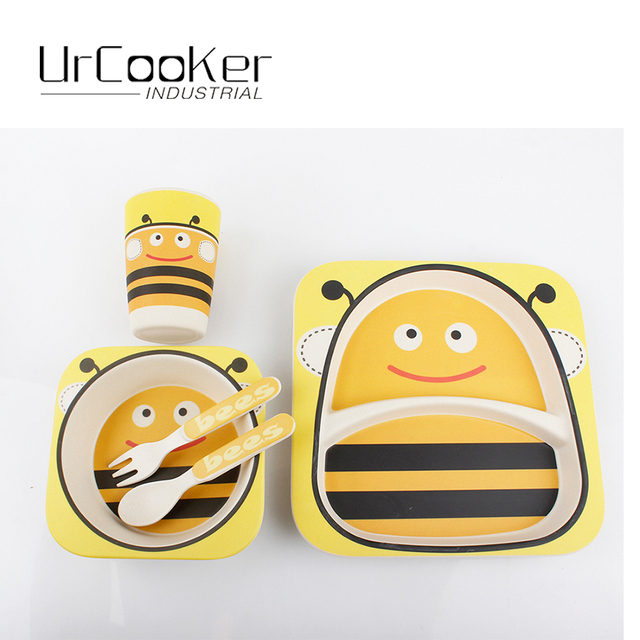 Urcooker BEE image 5 pieces in a set bamboo fiber environmental protection children tableware high quality  sc 1 st  AliExpress.com & Urcooker BEE image 5 pieces in a set bamboo fiber environmental ...