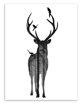 buy nordic vintage black white deer head animals silhouette big art print poster wall picture canvas painting no framed home decor from