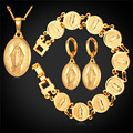Virgen María cristiana Joyería de la Vendimia Oro Plateado Pendientes Pulsera Y Collar Set Para Las Mujeres 2016 Nuevo PEH240
