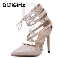 Roman Sandals Women Pumps European New Style Booties Ladies Sexy Hollow Cross Lace Up Rivets Stiletto