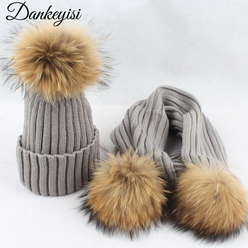 DANKEYISI Real Fur Winter Hat And Scarf Set Female Raccoon Pom Pom Hat Scarf For Women Thick Hat Girls Cap Knitted Beanies 2017