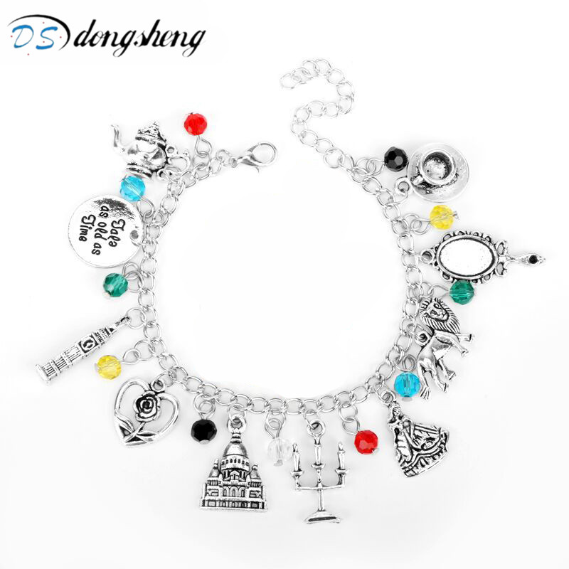 dongsheng Beauty And Beast Charm Bracelet Roses Mirror Castle Clock Lion Harpoon Accesorios joyas para mujeres Pulsera Gifts-25