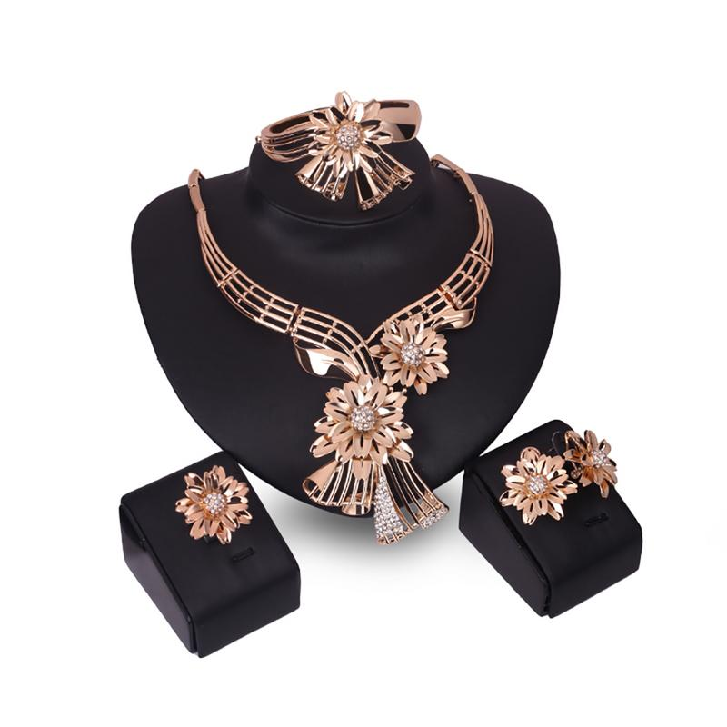 Free Shipping Women Jewelry Set Retro Gold Color Flower Luxury Necklace Earrings Bracelet Ring Four-piece Set For Party Wedding