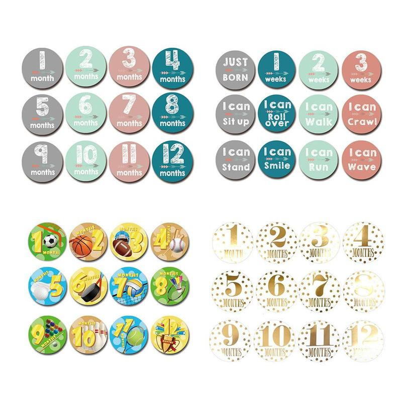1-12 Month Cartoon Newborn Tights Round Month Stickers Digital Printing Stickers Milestones Clothing Accessories Shooting Props