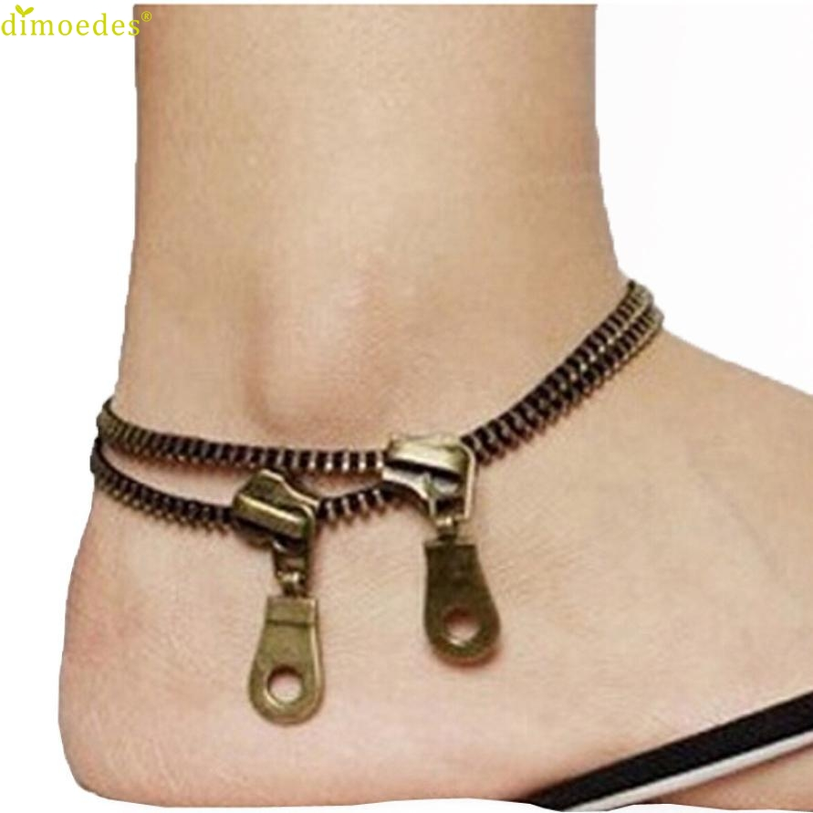 Diomedes Newest Creative Fashion Vintage Punk Metal Jewelry Unique Zipper Design Anklet Ladies Accessories Trendy Foot
