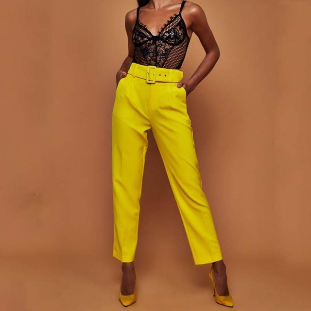 Women OL Belt Straight Pants Elegant Solid Color Office Classic Pants Work Trousers Ladies Formal Slim Fit Pencil Pants Female