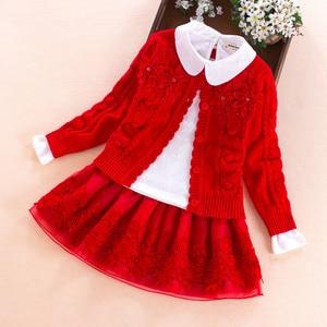 Image 2 - Kinderkleding set 2017 herfst winter Trui jas + shirt + rok 3pcs kant bloemen Kinderen meisjes katoen kleding 7 8 10 13 jaar