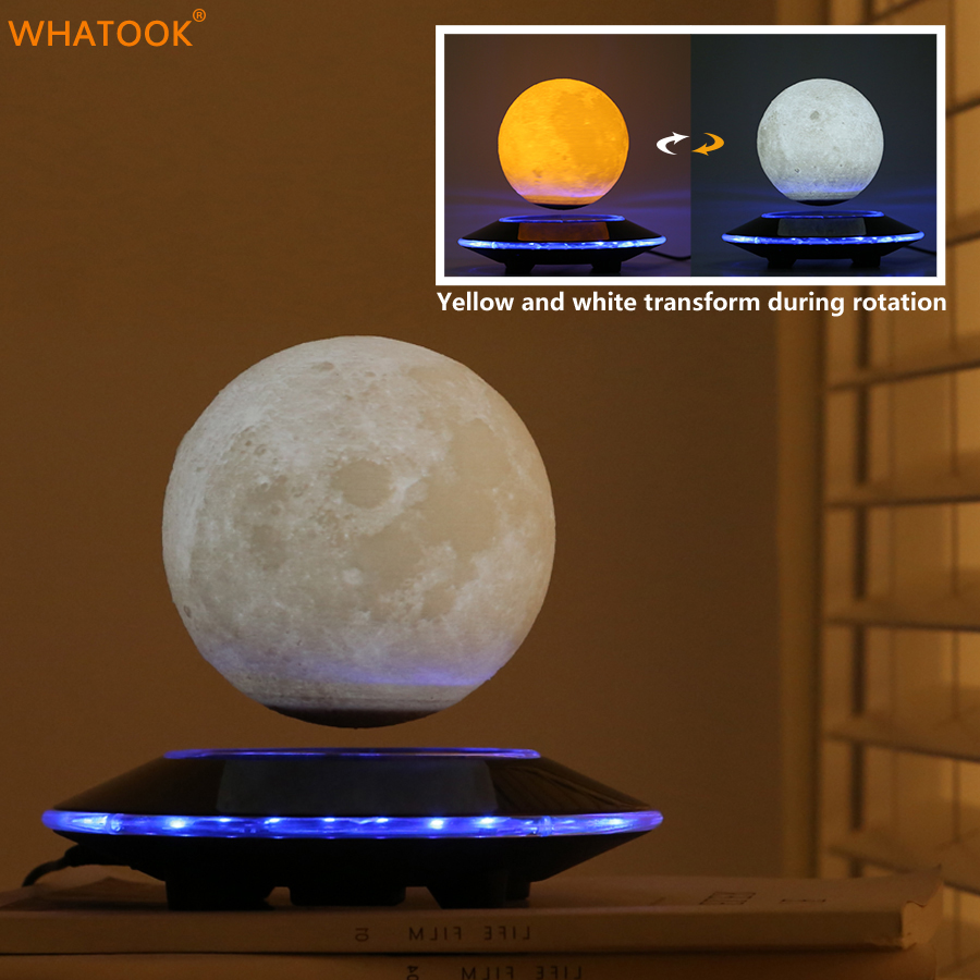3D Moon Lamp Lights Levitation Moon Lights Home Decorative Magnetic LED Floating Night Lights Bedroom Bookcase Luna Lampen Gifts