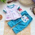 Niñas bebés ropa de verano ropa del bebé fija 2 unids corto-manga t-shirt + pants lindo oso azul sistema de la ropa como abastece