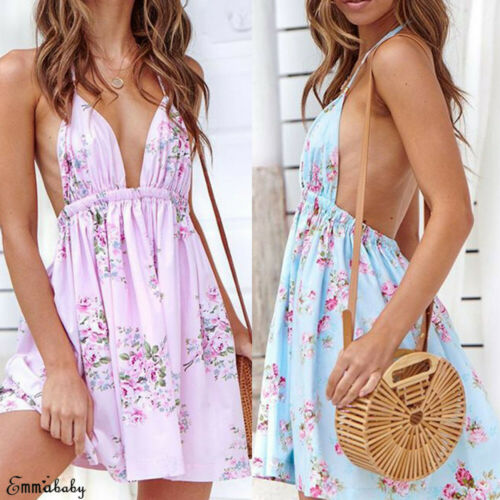 2019 New Hot <font><b>Summer</b></font> <font><b>Sexy</b></font> <font><b>Fashion</b></font> Female Lady <font><b>Women</b></font> Holiday V Neck Strappy Mini <font><b>Dress</b></font> Floral <font><b>Summer</b></font> <font><b>Beach</b></font> Swing Sundress Plus image