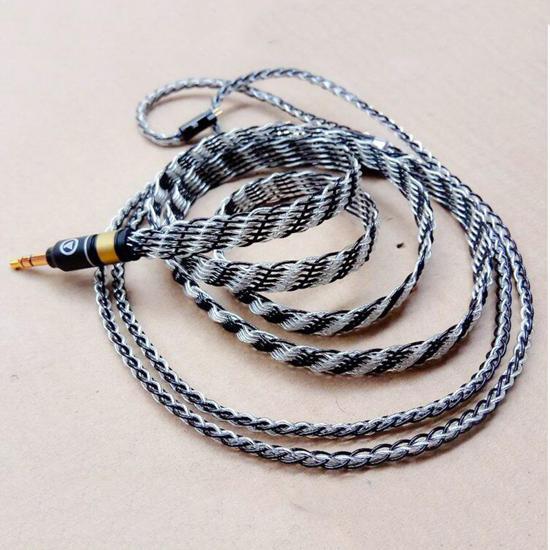 12N Earphone Plated Silver A2DC Cable MMCX for Shure SE215 SE535 SE846 for Sennheiser IE80 IE8 IE8I w4r TF10 ZS3 IM50 Hand Made