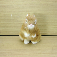 Yellow Simulation Rabbit Toy Plastic Fur Cute Small Rabbit Doll Gift About 8x12x14cm A43