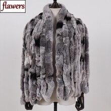 2020 de las mujeres de invierno estilo largo 100% genuino piel de conejo Rex auténtica bufanda dama calidad de abrigo suave Natural Rex bufandas de piel de conejo chal