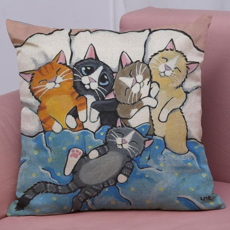 Cute Cat Animal Pattern Pillowcase Decorative Pillows For Sofa Seat Cushion Cover Linen Throw Pillow Case Cover Home decor