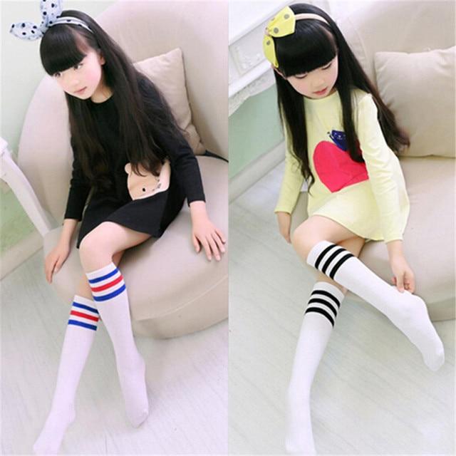 87244f104 Kids Knee High Socks For Girls Boys Football Stripes Cotton Sports Old  School White Socks Children Baby Long Tube Leg Warm Socks