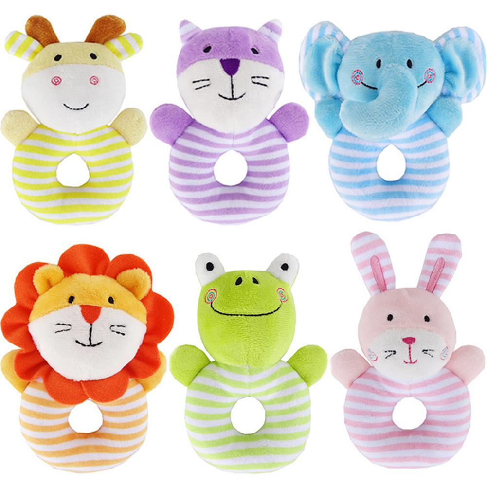 Cute Baby Rattle Toys Rabbit Plush Baby Cartoon Bed Toys For Newborn 0-24 Months Educational Toy Plush Rabbit Bear Hand Bells