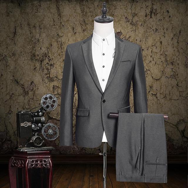 Novo 2016 Homens Marca Terno Conjunto Jaqueta E Calça Cinza Clássico Conjuntos de Vestido de noiva Blazer Mens Slim Fit Ternos de Negócio Formais S-3XL