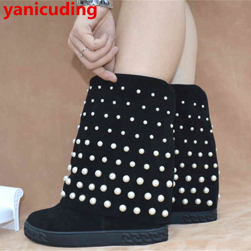 White Pearl Decor Women Mid-calf Boots Round Toe Wedges Height Increasing Women Winter Warm Hot Shoes Platform Chaussures Femmes 2015 retro elastic band rivets height increasing pointed toe platform 2 colors real leather mid calf boots women outdoor shoes