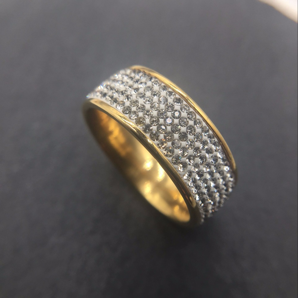 Luxury famous design 18KGF Gold filled 5 row AAA+ zircon channel pave women wedding Engagement bands Ring female crystal anel