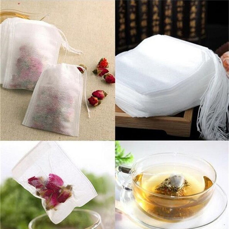 Tea Bags 100Pcs/Lot Empty Scented Drawstring Pouch Bag 5*7CM Seal Filter Cook Herb Spice Loose Coffee Pouches Tools