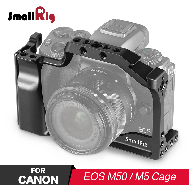 SmallRig Camera Cage for Canon EOS M50 and M5 With Soft Handle Grip for Vlogging Monitor