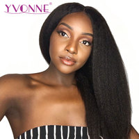 YVONNE 360 Lace Frontal Wig Pre Plucked With Baby Hair Virgin Kinky Straight Wigs For Black Women Natural Color