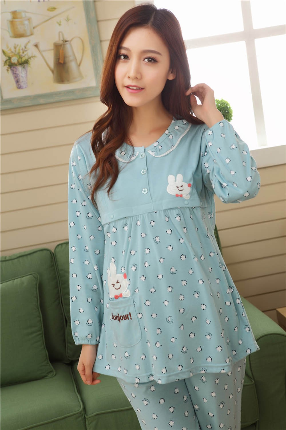 Pregnant-Woman-Pajamas-Postpartum-Breastfeeding-Month-Of-Serving-Lapel-Clothes-Long-sleeve-Sleepwear-Suits-CL0800 (7)