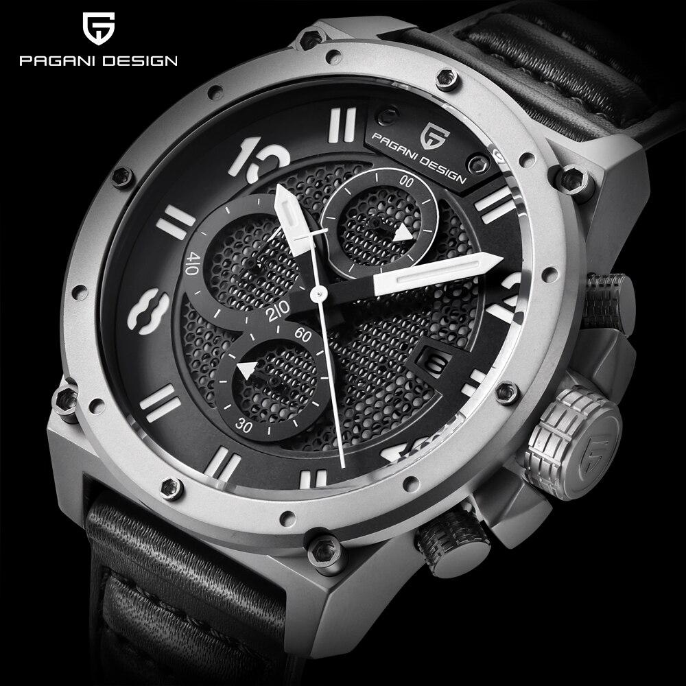 PAGANI עיצוב הכרונוגרף ספורט שעונים גברים עור קוורץ שעון יוקרה מותג עמיד למים צבאי Wistwatch Relogio Masculino