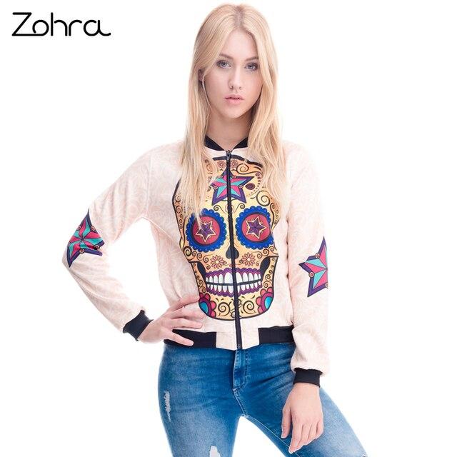 Zohra Womens Clothing Бомбардировщик Куртка 3D Печатных Mexican Череп Звезда Chaquetas Mujer Пиджаки С Длинным Рукавом Пальто Куртки