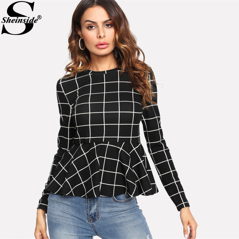 Sheinside Black Plaid Grid Peplum Ruffle Blouse Round Neck Long Sleeve Fall Top Women Elegant Office Ladies Work Wear Blouse