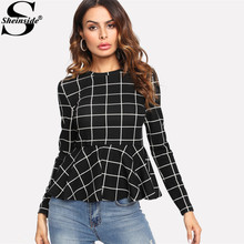 Sheinside Zwart Plaid Grid Peplum Ruffle Blouse Ronde Hals Lange Mouwen Herfst Top Vrouwen Elegant Office Dames Werkkleding Blouse(China)