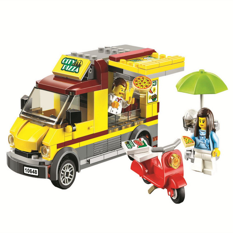 10648 BELA 261Pcs City Series Pizza Van Food Car Model Building Blocks Enlighten DIY Figure Toys For Children Compatible Legoe 10639 bela city explorers volcano crawler model building blocks classic enlighten diy figure toys for children compatible legoe