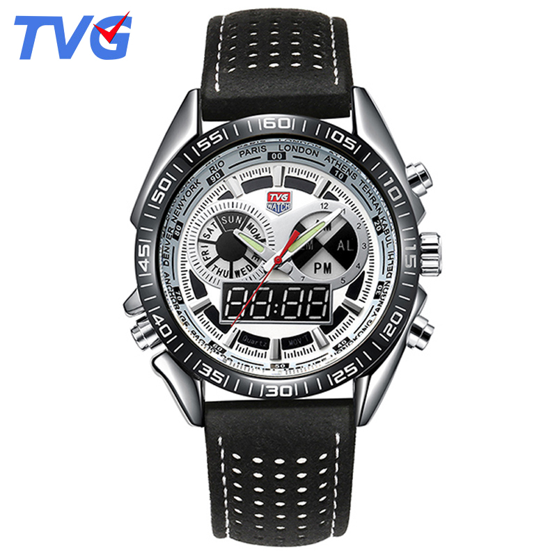 TVG Luxury Brand Digital Watch Man Waterproof Quartz Leather Watchband Date Day Week Display Wrist Watch Fashion Sporty Watches fashion sporty silicone quartz wrist watch yellow transparent 1 x 377