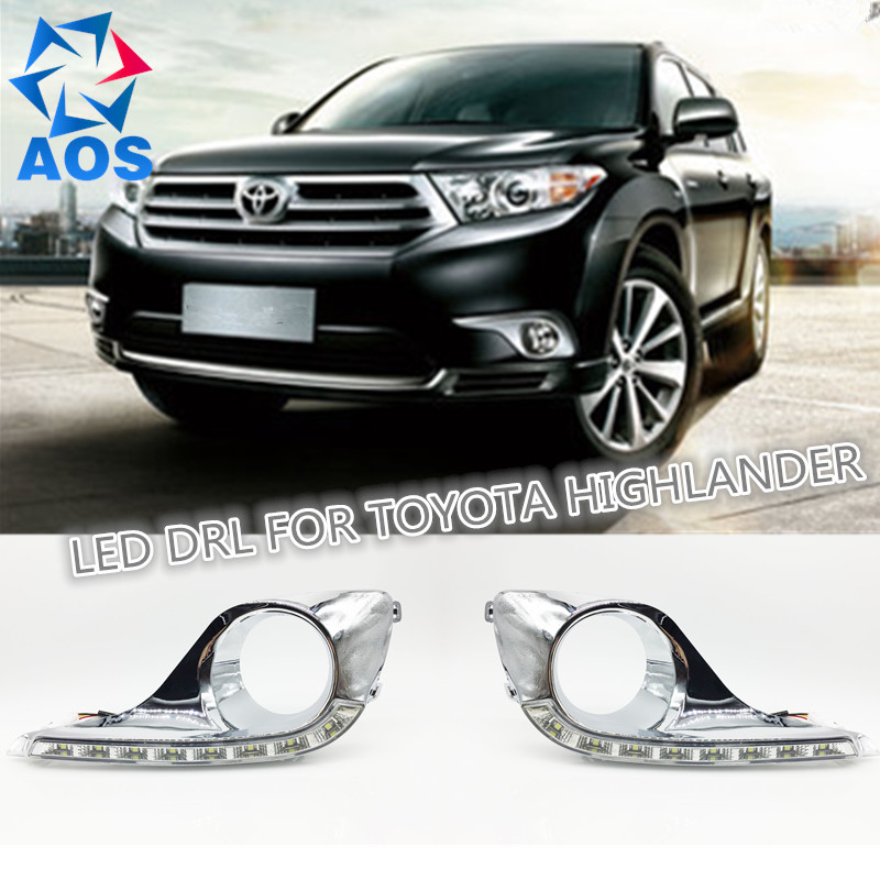 Turn off and dimming car daylight LED DRL Daytime Running Lights for Toyota Highlander 2012 2013 2014 2015   with fog lamp for toyota innova 2013 2014 2015 turn