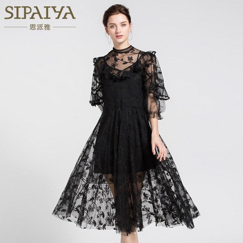 Designer Boutique robe femmes de haute qualité élégant blanc Organza fleur broderie Crochet vacances fête robe 2018