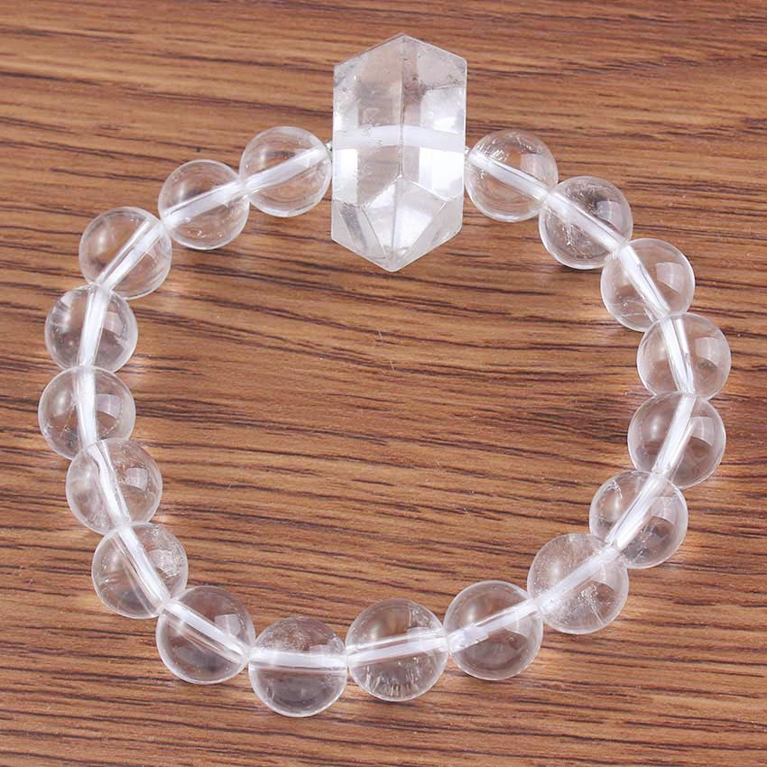 Kraft-beads Ethnic Style 10 mm Natural Rock Crystal Round Beads Elastic Bracelet Fashion Jewelry