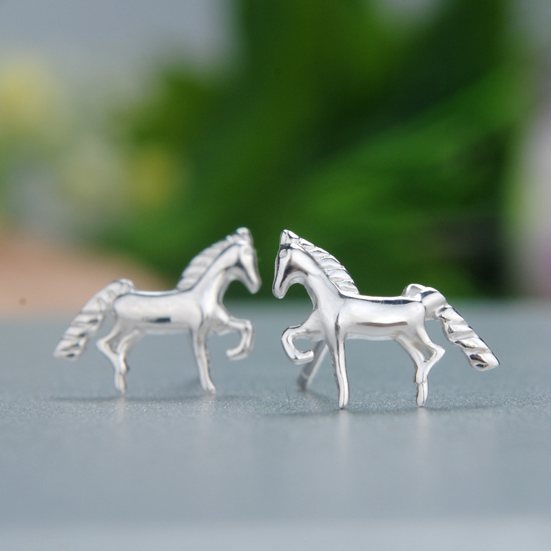 925 Sterling Silver Jewelry Horse Earrings For Women Statement Penntes Brincos Bijoux In Stud From Accessories