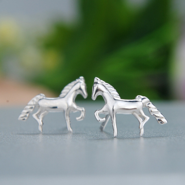 925 Sterling Silver Jewelry Horse Earrings For Women Statement Penntes Brincos Bijoux