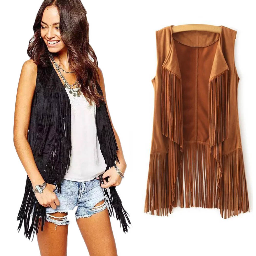 2017 Faux Suede Jacket Coat Female Tassel Sleeveless  Short Jackets And Coats Women V Collar Suede Top