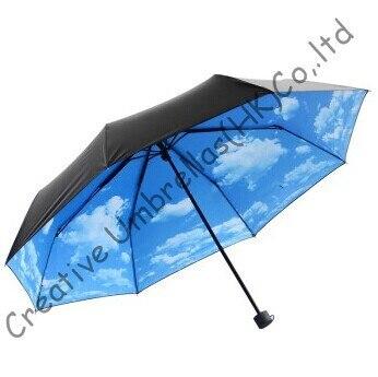 <font><b>Drop</b></font> shipping allowed,three fold, <font><b>blue</b></font> sky design,hand open,windproof,supermini,pocket umbrellas,UV protecting,black coating
