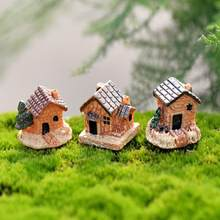 Figurine Mini Dollhouse Stone House Resin For Home Artificial DIY Mini Craft Cottage Landscape Decoration Accessories 18MAY1(China)