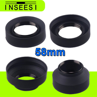 58mm 3 Stage 3 In 1 Collapsible Rubber Foldable Lens Hood 58mm DSLR Lens For Sony