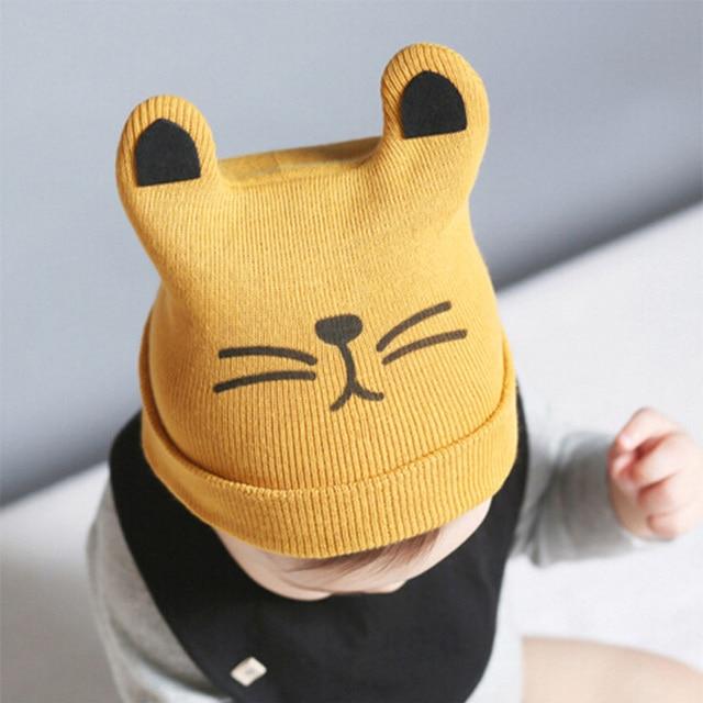 Glittery Süße Baby Hüte Katze Gestrickte Kappe Bart Mit Ohren Winter