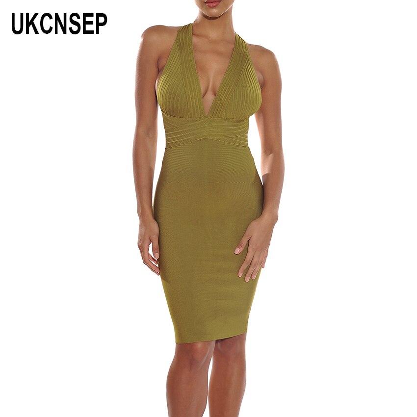 UKCNSEP nouveau Sexy femmes Bandage robe sans manches col en V Cocktail robe de soirée élégant dos nu robes d'été robe femme