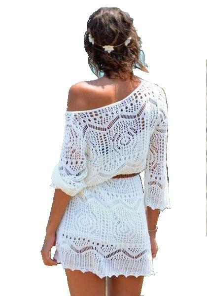 White Women Summer Sexy Lace Crochet Knit Dress Beach -1612