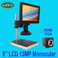 Ефикс 13MP HDMI VGA HD цифровой Камера набор микроскоп + 56 светодио дный кольцо света с креплением + 8 дюймов ЖК дисплей Монокуляр паяльник