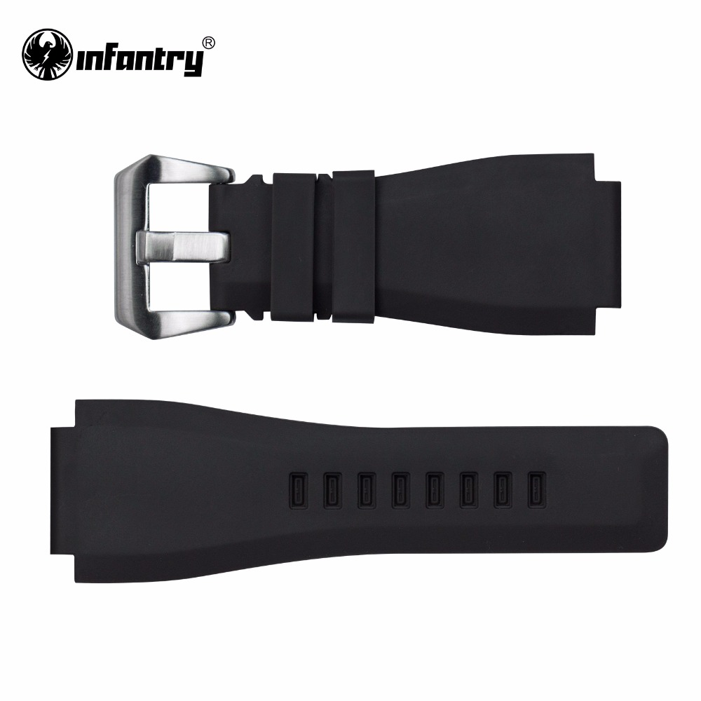 Infantry 24mm Rubber Watch Straps with High Quality Brushed Silver Buckle Soft Durable Wristwatch Band Accessories New Arrival durable 20 24 26 27 28 mm soft watch bands for diesel watch dz7313 dz7322 dz7257 women s men s watch straps with sliver buckle