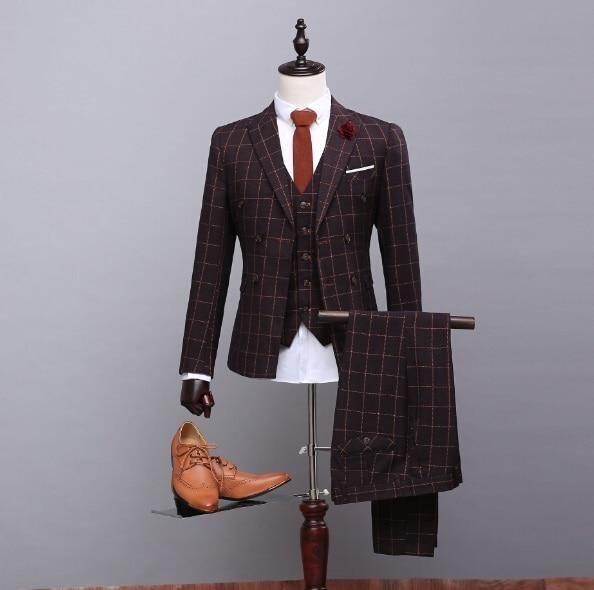 2018latest Coat Pant Designs Brown Tweed Suit Glen Check Tuxedo